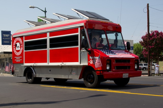 Food truck - flips burgers