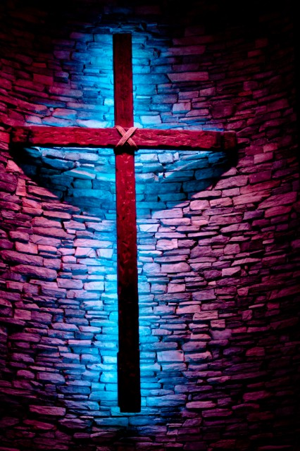 cross with blue backlighting